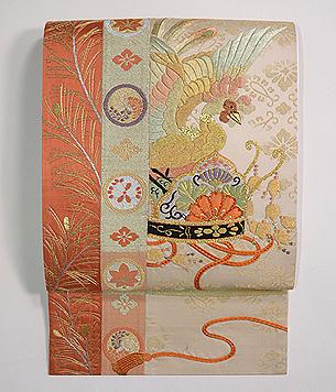 鳳凰と冠刺繍袋帯