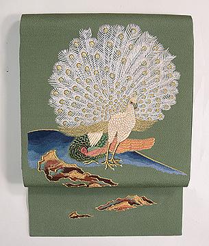 浦野理一作 孔雀の刺繍帯
