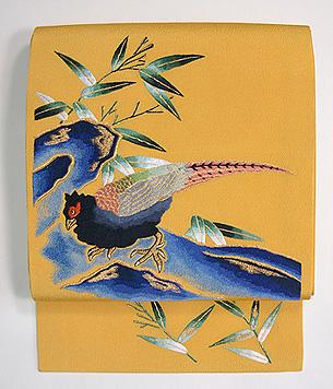 浦野理一作 雉の刺繍帯