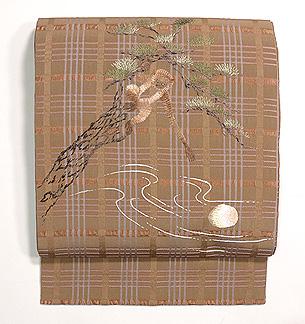 月と猿刺繍名古屋帯
