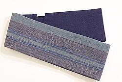 浦野理一作 半幅帯濃いグレー地緑と藍の細縞