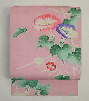 ピンクの朝顔の夏帯