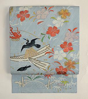 鵜飼の図江戸裂刺繍帯