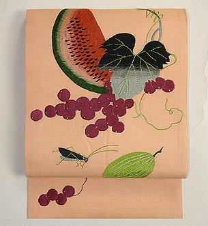 西瓜に瓜とキリギリス刺繍の名古屋帯