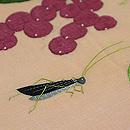 西瓜に瓜とキリギリス刺繍の名古屋帯 質感・風合