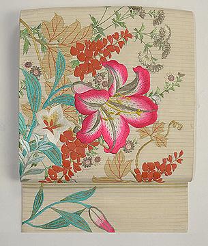 百合と野の花刺繍名古屋帯