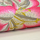 百合と野の花刺繍名古屋帯 質感・風合