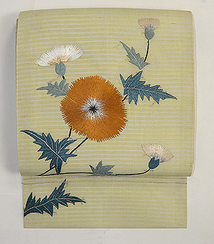 アザミの刺繍帯