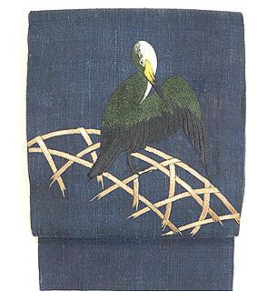 千葉あやの作 蛇籠に川鵜の刺繍帯