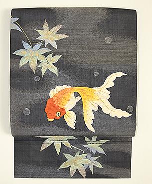 楓と流金魚刺繍名古屋帯