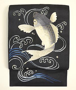 鯉と貝合わせ刺繍名古屋帯
