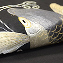 鯉と貝合わせ刺繍名古屋帯 質感・風合