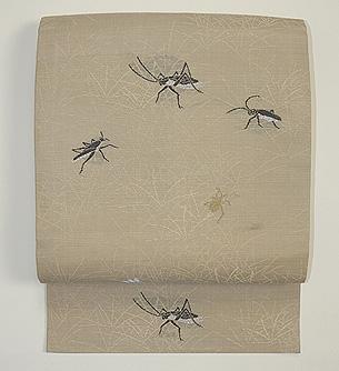 草むらの虫達織り名古屋帯