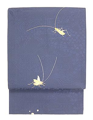 藍地秋草にコオロギ刺繍絽名古屋帯
