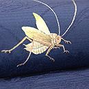 藍地秋草にコオロギ刺繍絽名古屋帯 質感・風合