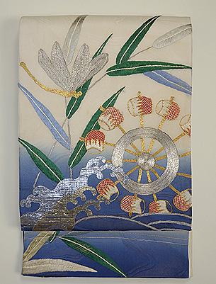 蜻蛉と水車刺繍袋帯