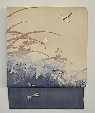 秋草にトンボとミツバチの名古屋帯