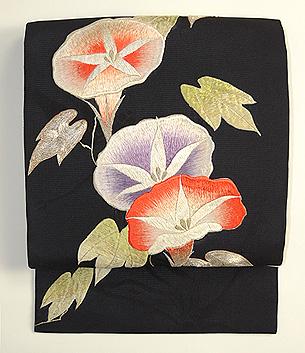 黒地アサガオの刺繍名古屋帯