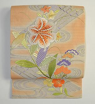 花筏の刺繍袋帯