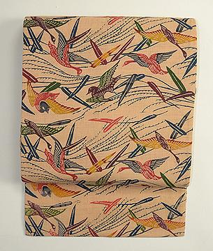 葦に水鳥紅型名古屋帯