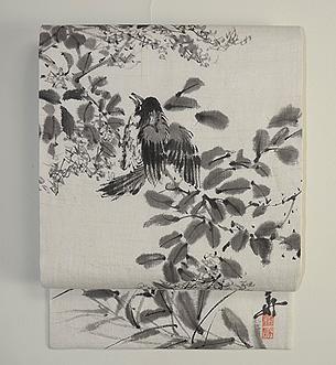 小枝に小鳥墨絵の夏帯