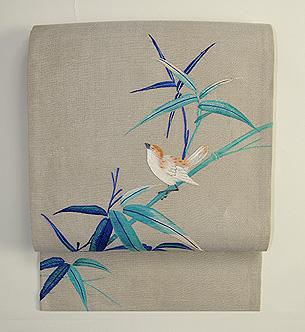 竹に雀刺繍名古屋帯