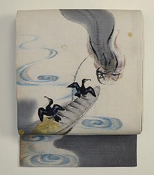 鵜と篝火の図紗名古屋帯