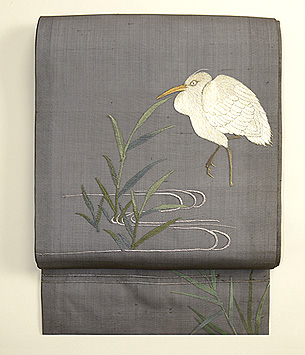 水辺の葦に鷺刺繍紗名古屋帯