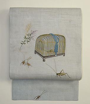 虫籠に虫たちの刺繍名古屋帯