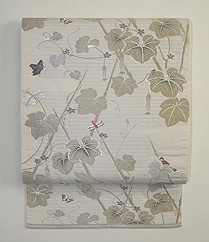 へちまに雀と蝶々夏袋帯