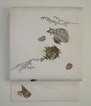 海辺に貝殻刺繍紗名古屋帯