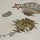 海辺に貝殻刺繍紗名古屋帯 質感・風合