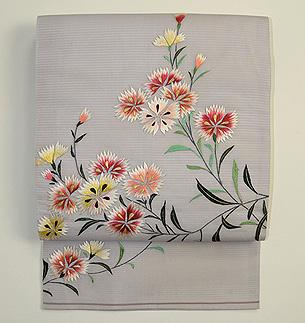撫子刺繍絽名古屋帯