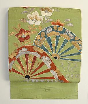 片輪車に桔梗刺繍名古屋帯