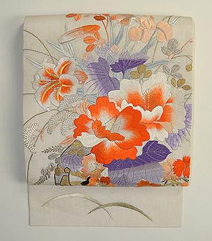 夏の百花花車刺繍紗名古屋帯