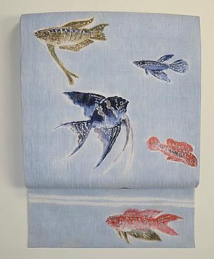 魚の図染名古屋帯