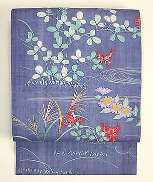 藤納戸色麻地刺繍の名古屋帯