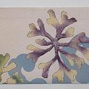 青と白海松の染め帯 前中心