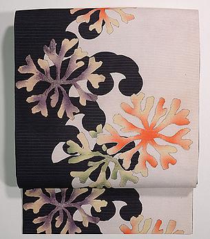 白と黒海松の染め帯