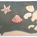 海藻に貝尽し紗の名古屋帯 前中心