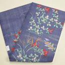 藤納戸色麻地刺繍の名古屋帯 帯裏