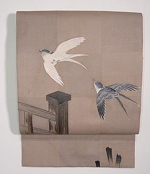 橋に燕刺繍名古屋帯