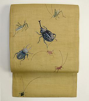 虫の刺繍帯