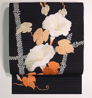 垣根にアサガオの刺繍帯