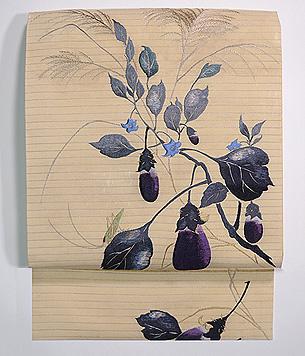ナスにキリギリス刺繍名古屋帯