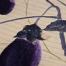 ナスにキリギリス刺繍名古屋帯 質感・風合