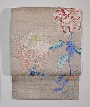 大輪菊の刺繍名古屋帯