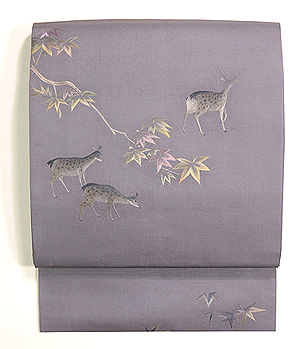 紅葉に鹿の刺繍名古屋帯
