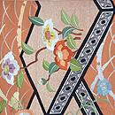 露芝に百花刺繍開き名古屋帯 前中心