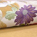 菊に南天綴刺繍名古屋帯 質感・風合